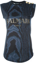 Balmain sleeveless logo T-shirt