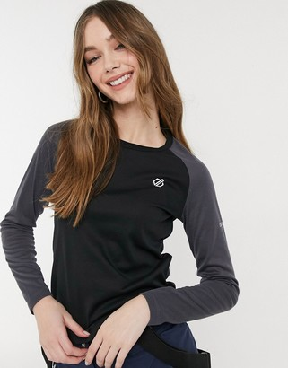 Dare 2b Exchange long sleeve baselayer top in black & ebony grey