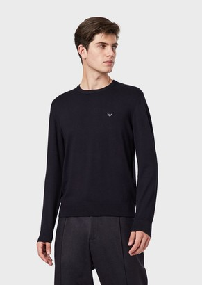Emporio Armani Plain-Weft Knit Sweater With Embroidered Logo