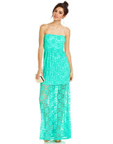 Jump Juniors Dress, Strapless Lace Illusion