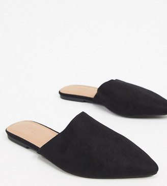 ASOS DESIGN Wide Fit Lava pointed flat mules in black