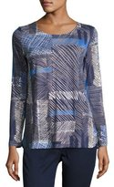 Piazza Sempione Grid-Print Long-Sleeve Tunic, Blue