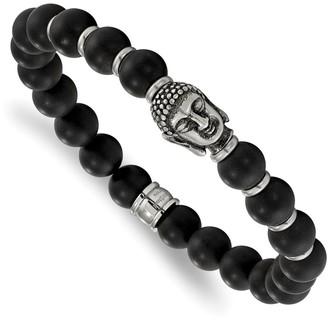 Chisel Stainless Steel Buddha Black Agate Beaded Stretch Bracelet