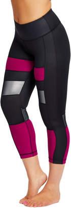 90 Degree By Reflex Women's Leggings MGNBK - Magenta Haze & Black Color Block Mesh-Panel Capri Leggings - Women