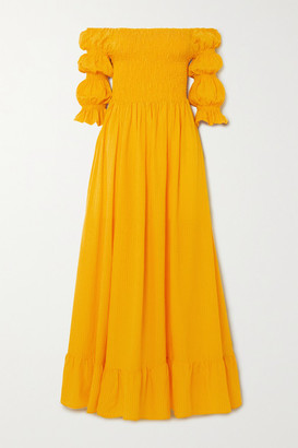 Evarae Lora Off-the-shoulder Fil Coupe Cotton And Silk-blend Maxi Dress - Yellow