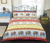 Art Indian Style Elephants Single Quilt Duvet Cover, Polycotton, Red