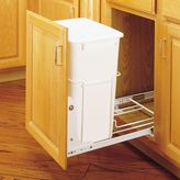 Rev-A-Shelf RV-18PB-1 Single 35 qt. 14-3/8 in. Wide White Waste Container w/3/4 Extension Slides