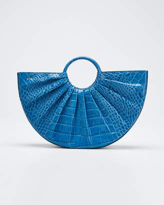 D Ly P Bender Midi Pleated Croc Tote Bag