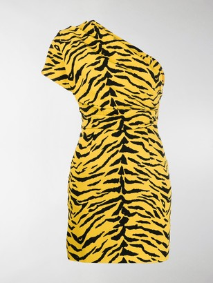 Saint Laurent Animal Print Asymmetrical Dress