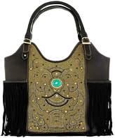 Vintage Addiction Hand Embroidered Leather Fringed Bag