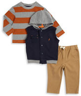 Nautica Baby Boys Hooded Vest, Striped Tee and Pants Set