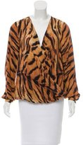 Haute Hippie Tiger Stripe Printed Silk Blouse