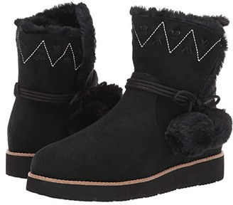 Jack Rogers Vera Suede Pom-Pom Boot (Black) Women's Shoes