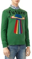 Gucci Future UFO Wool Crewneck Sweater, Green