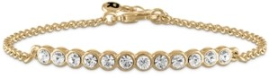 Rachel Roy Gold-Tone Crystal Curved Bar Link Bracelet