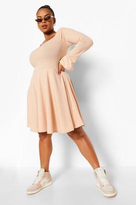 boohoo Plus Jumbo Rib Square Neck Skater Dress