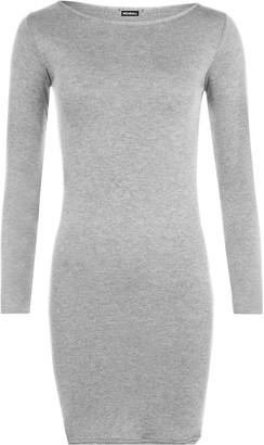WearAll Ladies Mini Dress Long Sleeved Bodycon Top - Black - 8/10