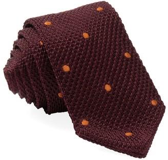 Tie Bar Pointed Tip Knit Polkas Burgundy Tie