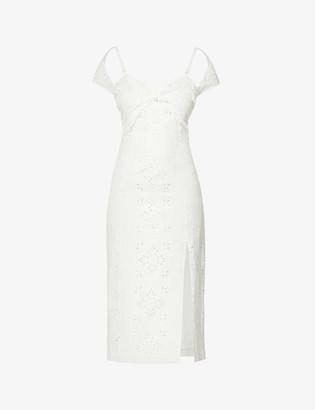 Jacquemus La robe Tovallo broderie linen-blend midi dress