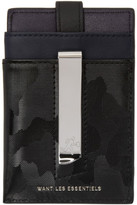 WANT Les Essentiels Black Camo Kennedy Card Holder