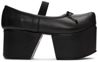 Flat Apartment Black Separated Platform Ballerina Flats