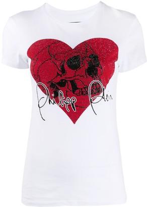 Philipp Plein Love Plein rhinestone skull T-Shirt
