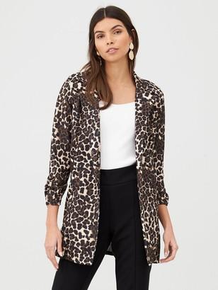 Very Printed Longline Jersey Crepe Blazer - Leopard