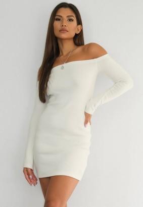 Missguided Cream Rib Bardot Mini Dress