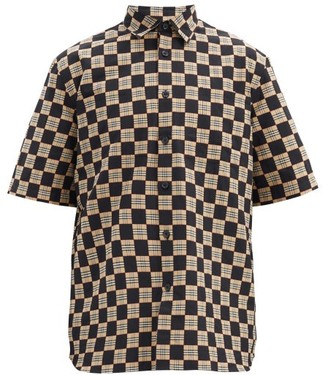 Burberry Trulo Checked Short-sleeved Cotton Shirt - Black Beige