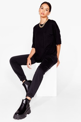 Nasty Gal Womens Bring It All Together Tee and Jogger Set - Black - 6