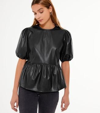 New Look Leather-Look Puff Sleeve Peplum Top