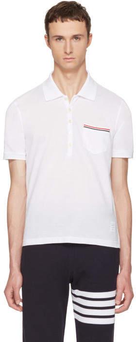 Thom Browne White Pocket Polo