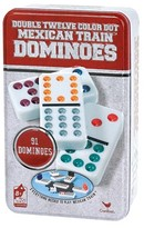 Cardinal Double Twelve Color Dot Mexican Train Dominoes Game with Tin