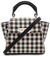 Zac Posen Eartha Iconic Mini Gingham Straw Top Handle in Black.