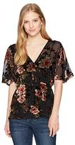 Angie Women's Black Floral Burnout Velvet Surplus Kimono Top