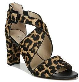 Franco Sarto Hazelle2 Strappy Leopard-Print Calf Hair Sandals