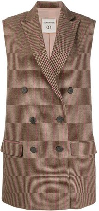 Semi-Couture Checked Double-Breasted Waistcoat