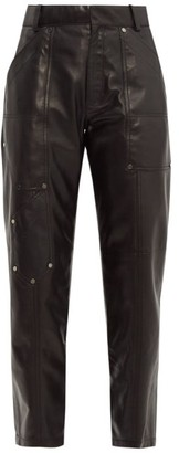 Chloé Studded Cropped Leather Trousers - Womens - Black
