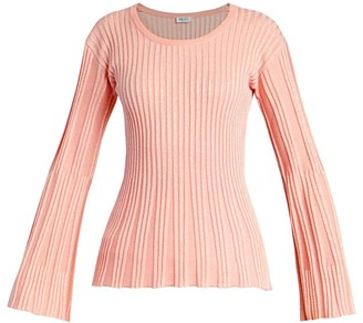 Kenzo Lurex Ribbed Knit Bell-Sleeve Sweater