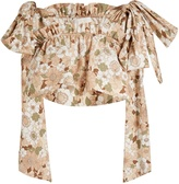 Chloé Floral-print ruffled cotton cropped top