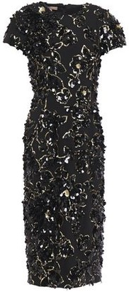 Michael Kors Embellished Wool-blend Crepe Midi Dress
