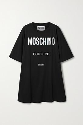 Moschino Printed Cotton-jersey Mini Dress - Black