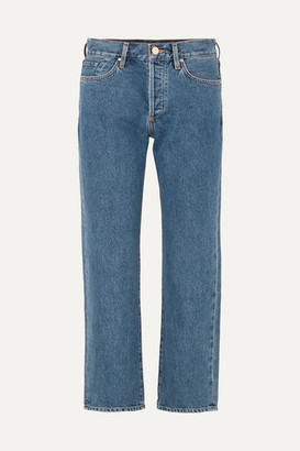 Gold Sign The Relaxed Mid-rise Straight-leg Jeans - Indigo