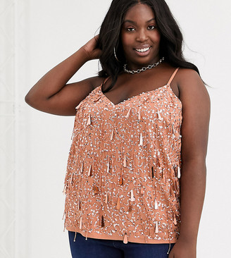 ASOS DESIGN Curve cami with fringe embellishment