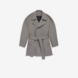 Balenciaga Pinched Wrap Jacket in black and white houndstooth double face wool