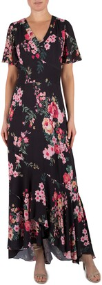 Julia Jordan Floral Short Sleeve Maxi Dress