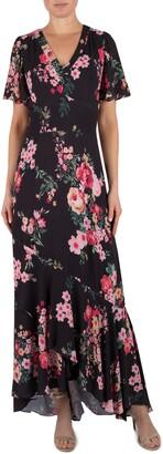Julia Jordan Floral Short Sleeve Maxi Dress