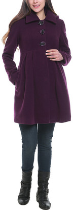 Kimi + Kai Maternity Wool-Blend Pleated Coat