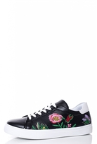 Quiz Black Flower Embroidered Trainers