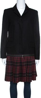 McQ Black Convertible Wool Blend Tartan Plaid Kilt Coat M